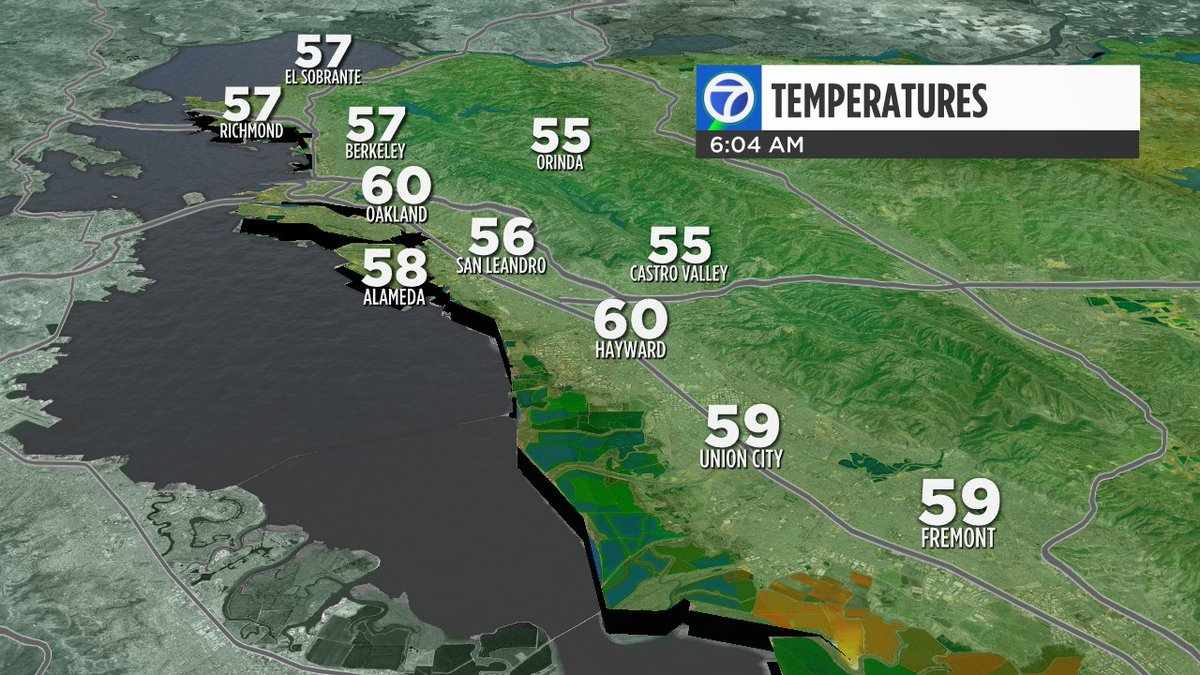 Clouds firmly in place over our East Bay neighborhoods. Dress for temps between 55 to 60 degrees.