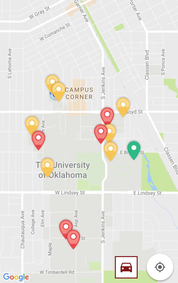 OU Innovate app gives @UofOklahoma real-time #smarterparking info. Red is full; yellow filling; green is wide open. https://t.co/ZE07TK1RkR