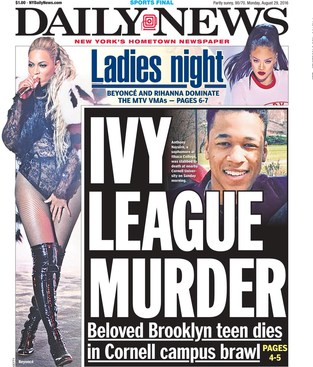 Today's front page: IVY LEAGUE MURDER - Beloved Brooklyn teen dies in Cornell campus brawl