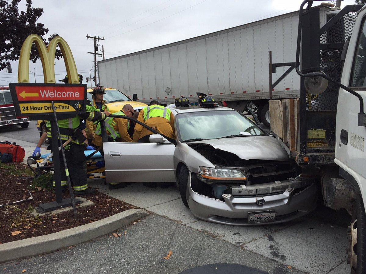 Big-Rig, Sedan collide in Redwood City