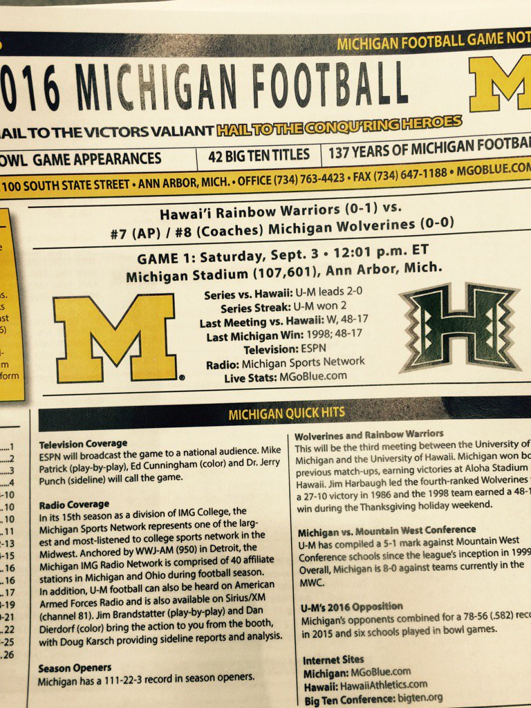 UM weekly notes out ...26 pages and.....NO DEPTH CHART