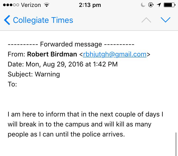 Receiving reports that students/staff have received threatening e-mail. These should be forwarded to @VaTechPolice https://t.co/ozZPNuGDrw