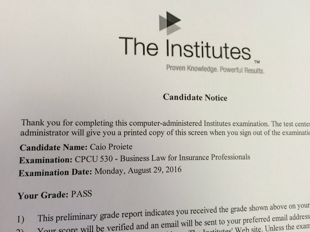 Caio Proiete On Twitter One More Cpcu Exam In The Bag 3 More To