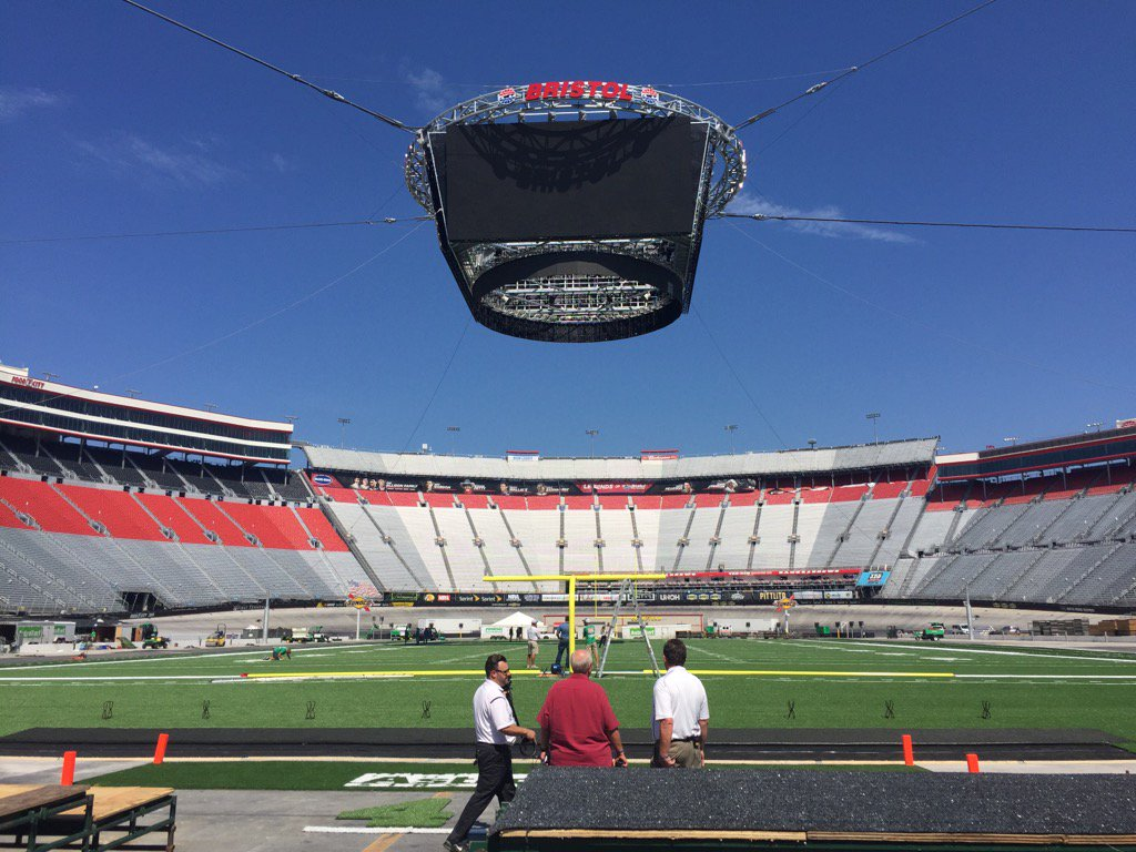 Bristol Motor Speedway Being Converted Into Football Field