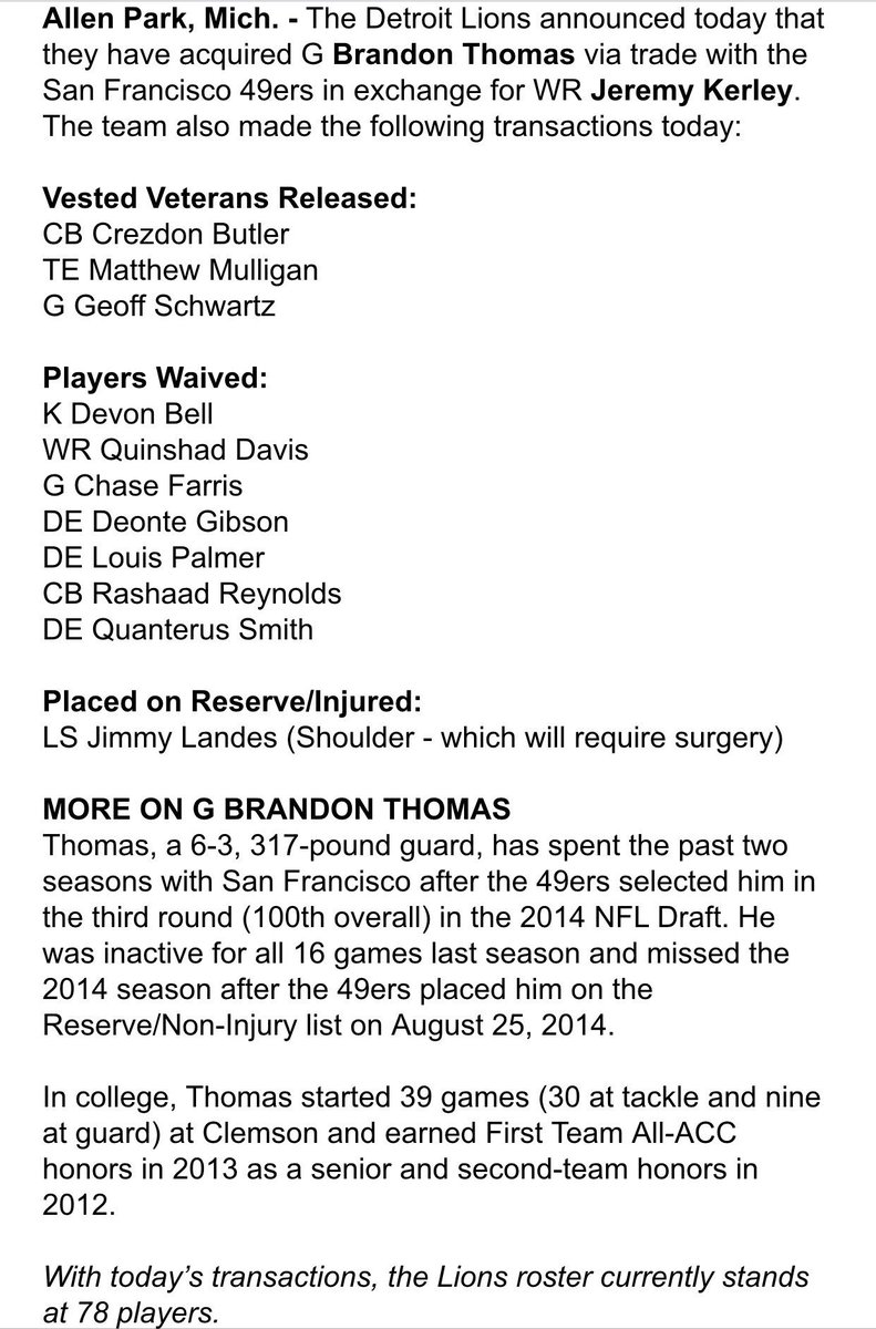 Lions announce roster moves