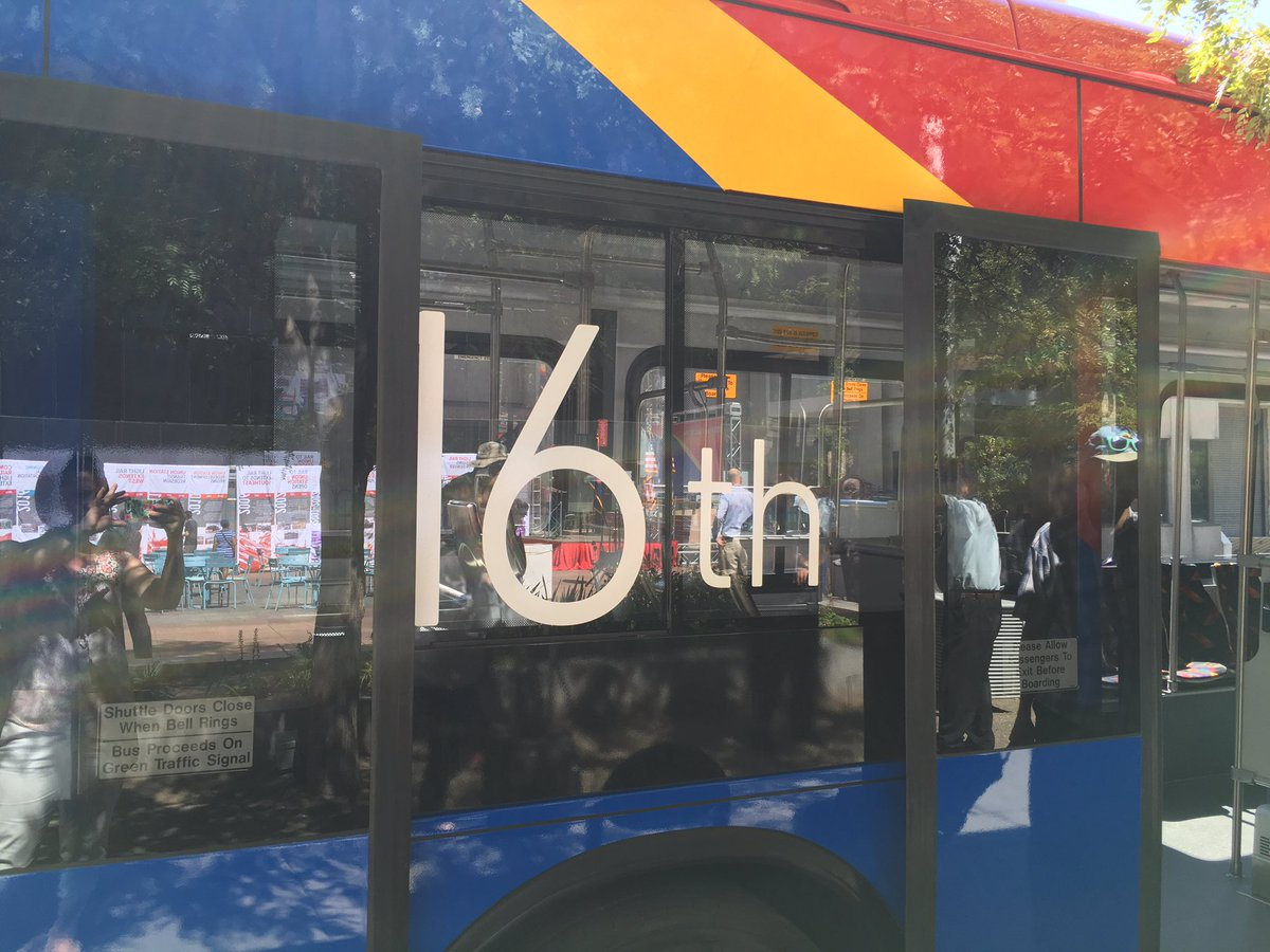 The @RideRTD 16thStreetMall Free MallRide has a brand new look! Sneak preview happening now at 16th&Arapahoe!