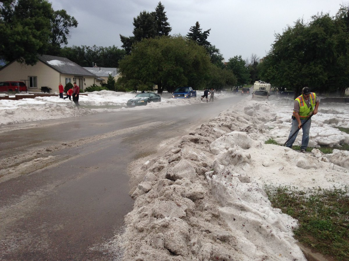 Snowplows in August? That's what we found in Colorado Springs after hail/flooding. COwx
