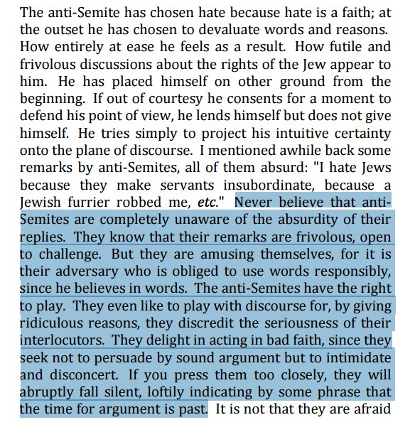 Here's Sartre back in 1946 describing anti-Semites as the original trolls. True of the alt-right today.