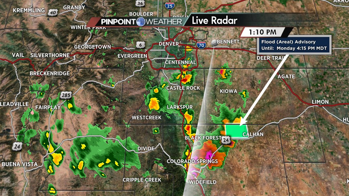 Flooding possible along and north of Hwy 24 near Calhan. cowx alert
