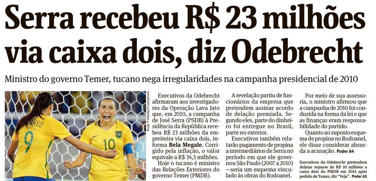 Memórias do impeachment: José Serra, ministro do governo Temer, recebeu R$ 23 milhões via caixa 2, diz Odebrechet