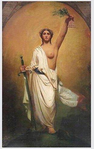 12)Et la Marianne révolutionnaire, cheveux détachés, bonnet phrygien, poitrine découverte, combattante et armée https://t.co/8r8Gj6QU1M
