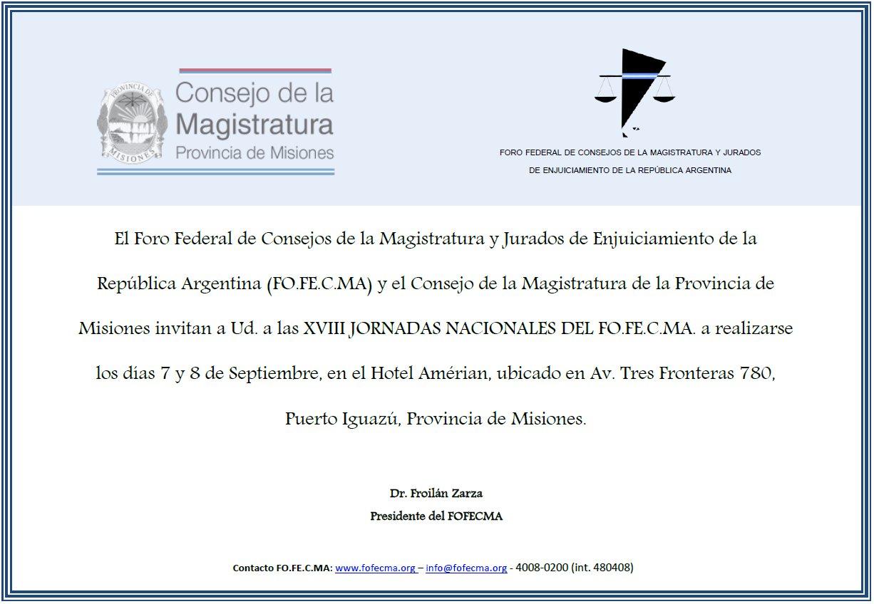 Los días 7 y 8 de Septiembre se realizarán las XVIII Jornadas Nac. FOFECMA en #Misiones - https://t.co/z1qth63z1J https://t.co/R1xwFfDCzj