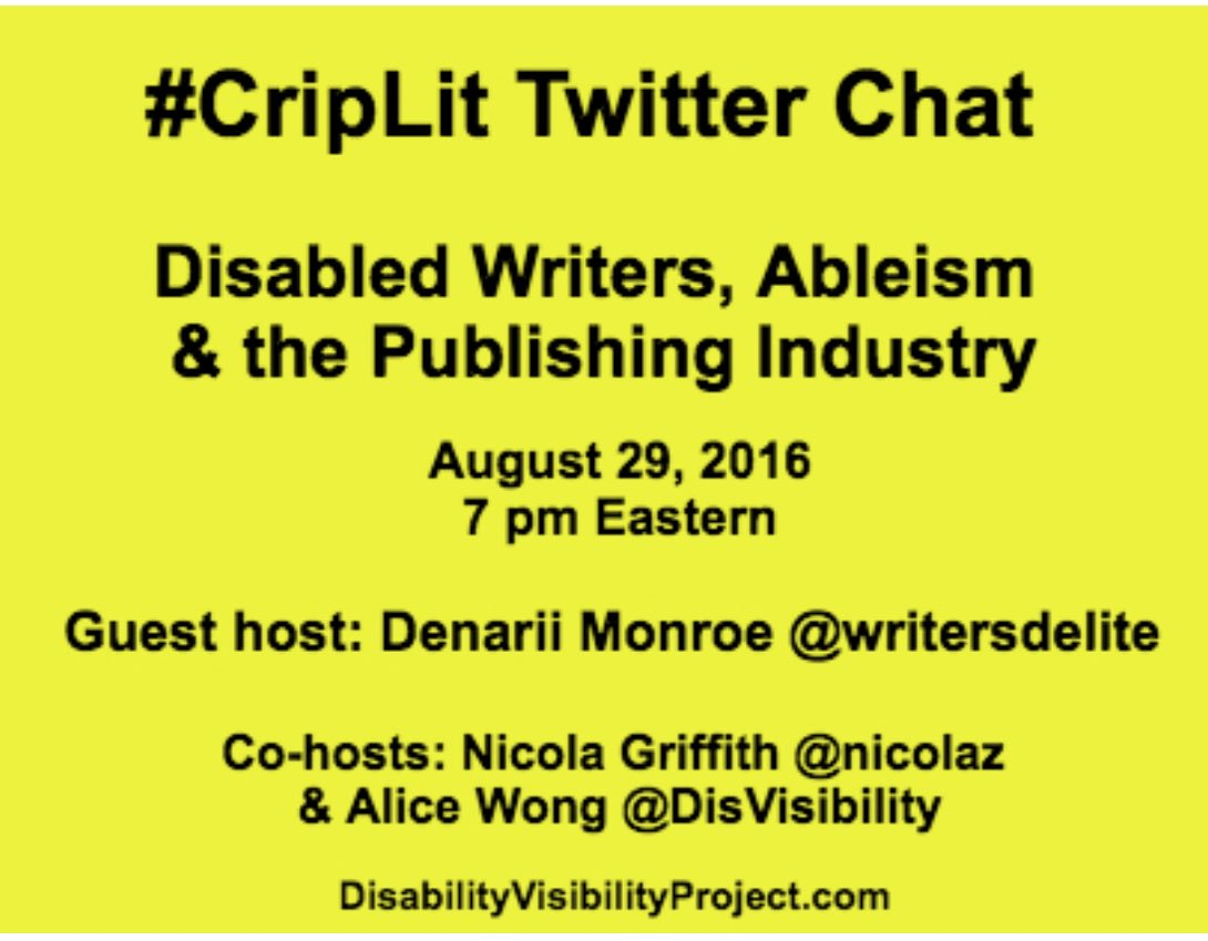 Now! #CripLit chat! More info via @SFdirewolf: https://t.co/JQUg7bqrBd https://t.co/nUabrQpK84
