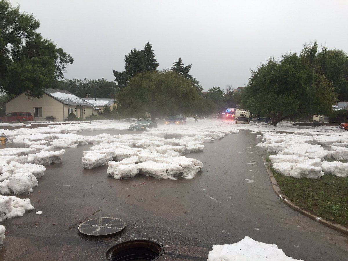 Logan and Bijou flooding combined with hail. Please avoid area.
