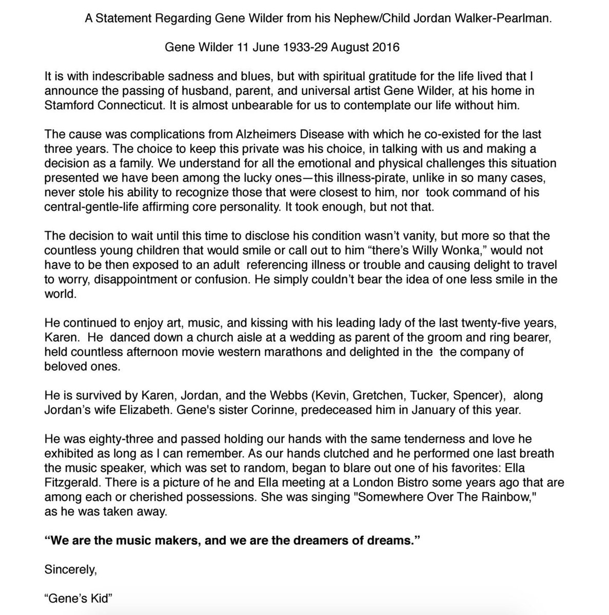 Here's statement from Gene Wilder's family on his death, why illness wasn't disclosed. https://t.co/3vFqCNB4Ic https://t.co/Ax2jWmPvQM