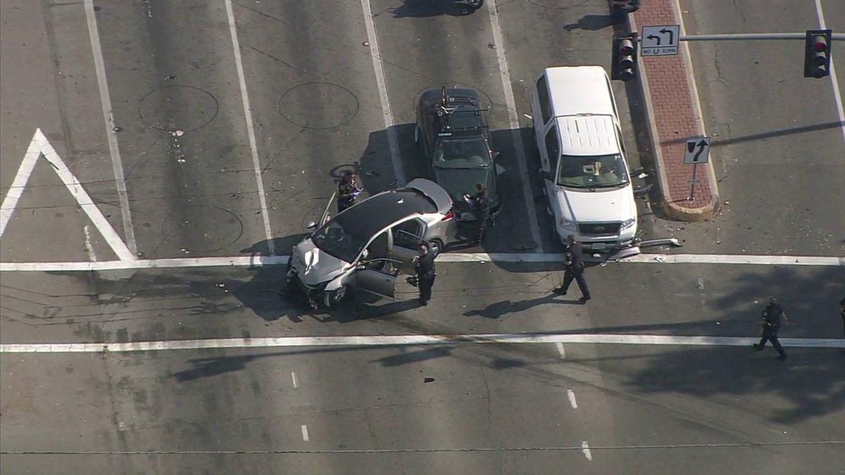 Car chase ends in crash at Tustin, 17th Street in Santa Ana