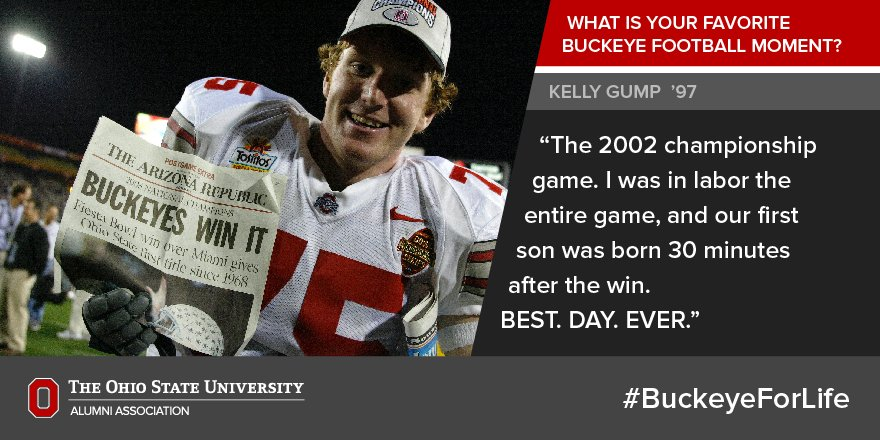 """The 2002 championship game... BEST. DAY. EVER."" -Kelly Gump '97  What's your favorite moment? #BuckeyeForLife https://t.co/SBECaH3WpA"