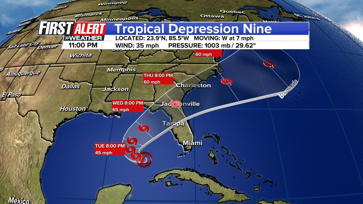 11pm advisory and forecast track. Not much change in track and intensity forecast. Pressure down to 1003 mb.