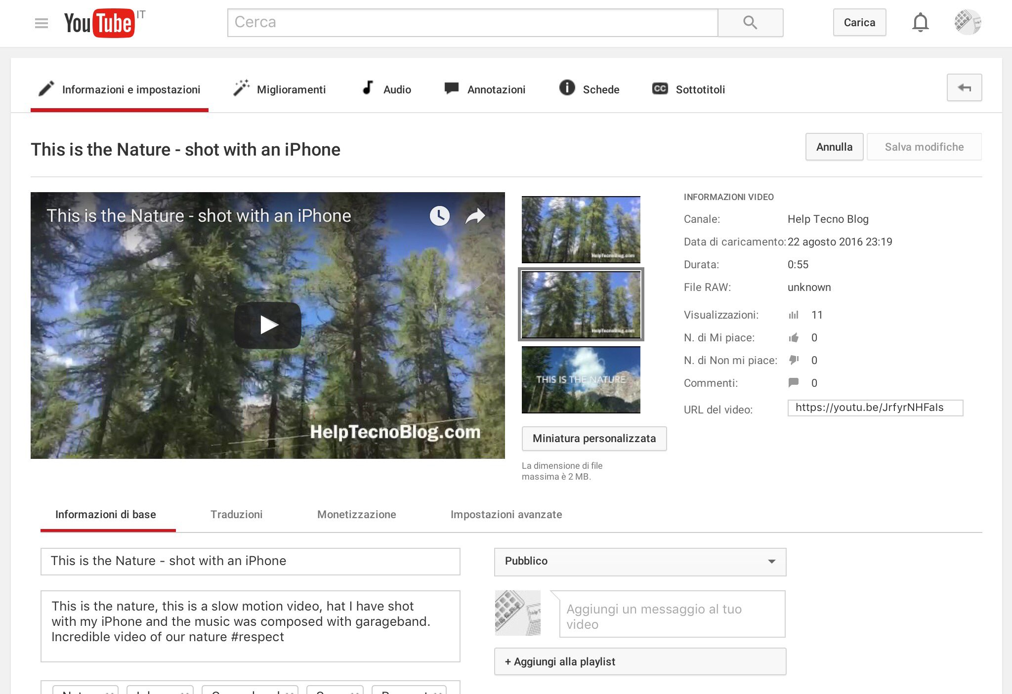 Come modificare titolo video su Youtube
