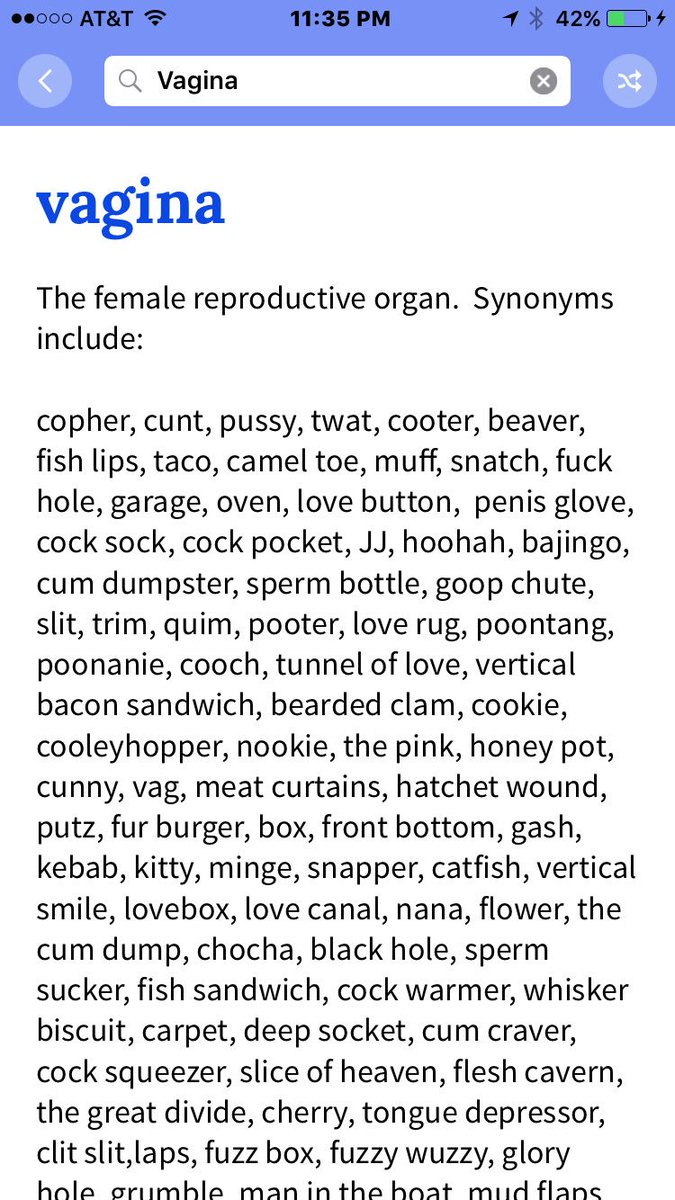 Words for vagina list