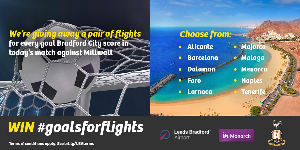 Best of luck today @officialbantams ⚽ RT for your chance to #WIN in our #goalsforflights @monarch competition ✈️ https://t.co/B4BebTk6Lp