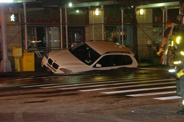 Upper West Side Street Swallows SUV After Water Main Break