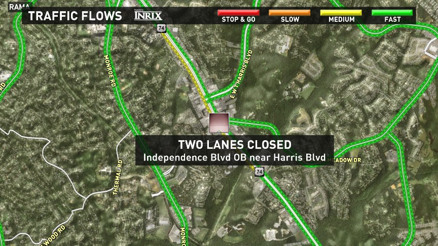 2 lanes of Independence Blvd outbound are still blocked this morning near Harris Blvd. ALT- Monroe Rd. CltTraffic