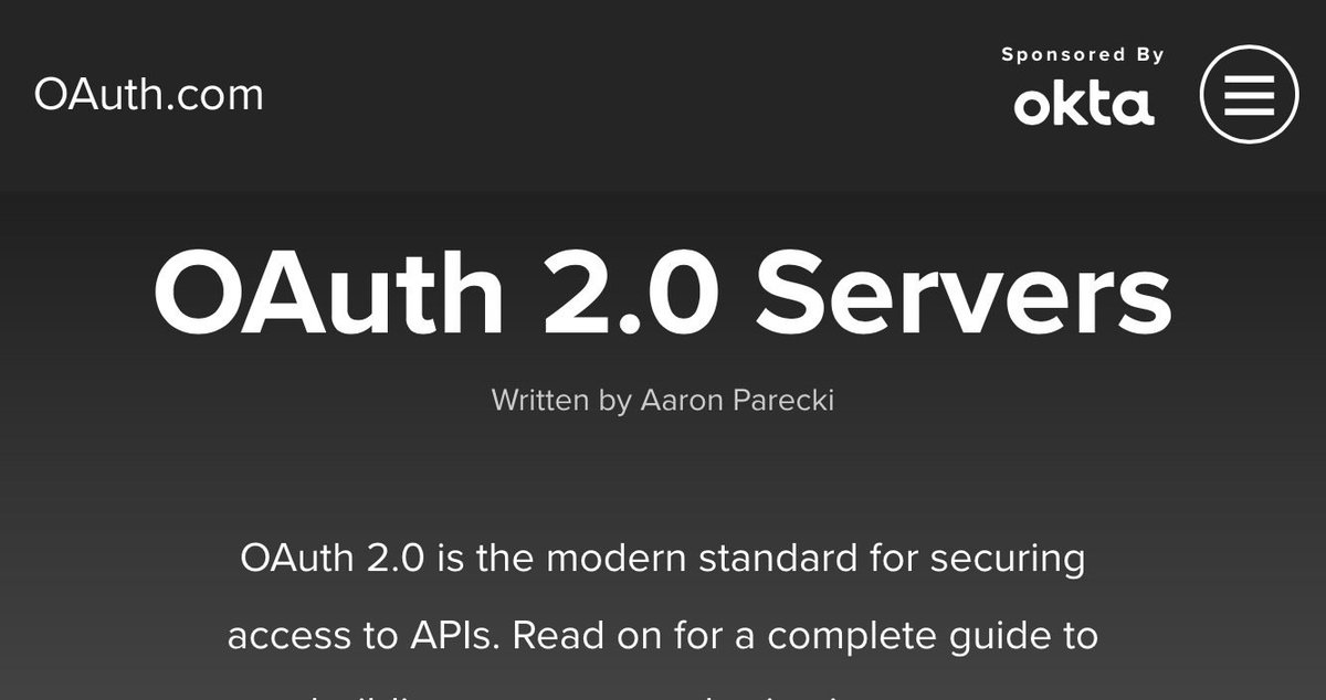 Happy to announce https://t.co/ZTZLpqnG3Z - a guide to building OAuth 2.0 servers! #oktane16 https://t.co/lPSEQMNVND