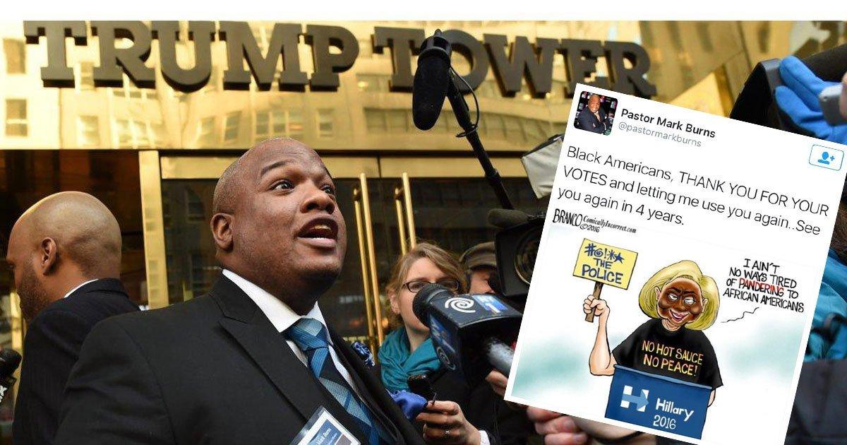 Pro-Trump black pastor tweets cartoon of @HillaryClinton in blackface, then deletes it