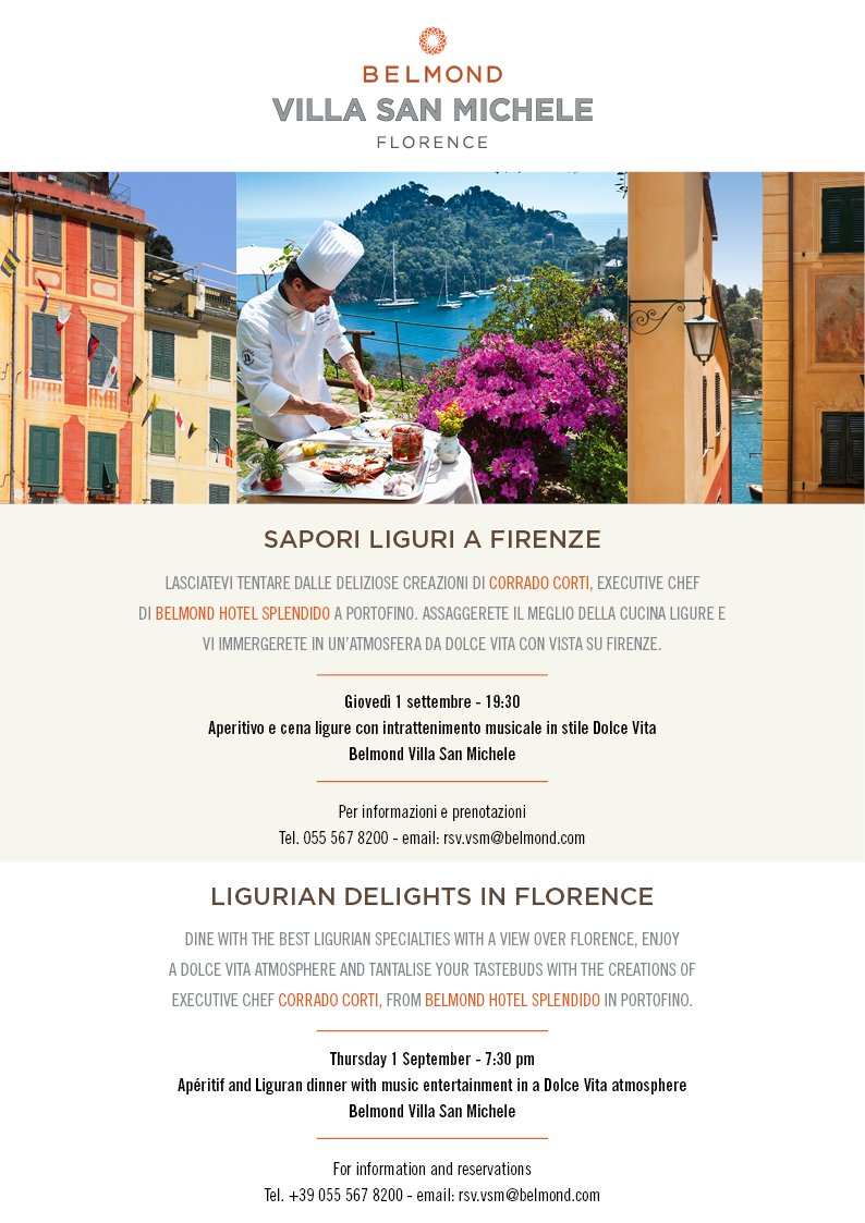Just 2 days until our Liguria-style night in #Florence with @hotelsplendido! rsv.vsm@belmond.com https://t.co/D1kNXxKxKi