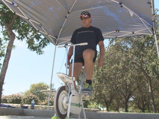 Man peddling exercise bike 250K miles for daughter's MS KHOU