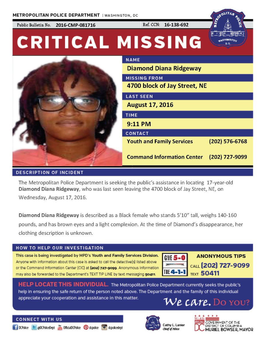 Help locate Diamond Ridgeway, missing from 4700 b/o Jay St, NE since 8/17. Seen her? Call (202) 727-9099/text 50411.