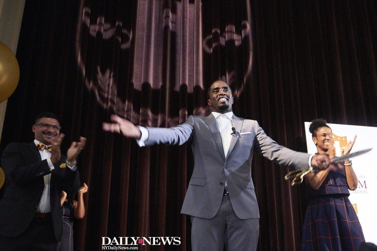 CLASS IS IN SESSION: @iamdiddy kicked off first day of classes at new Harlem charter school