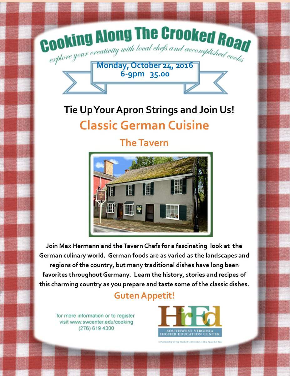 Let's cook Classic German with the Tavern on October 24th at HEC!