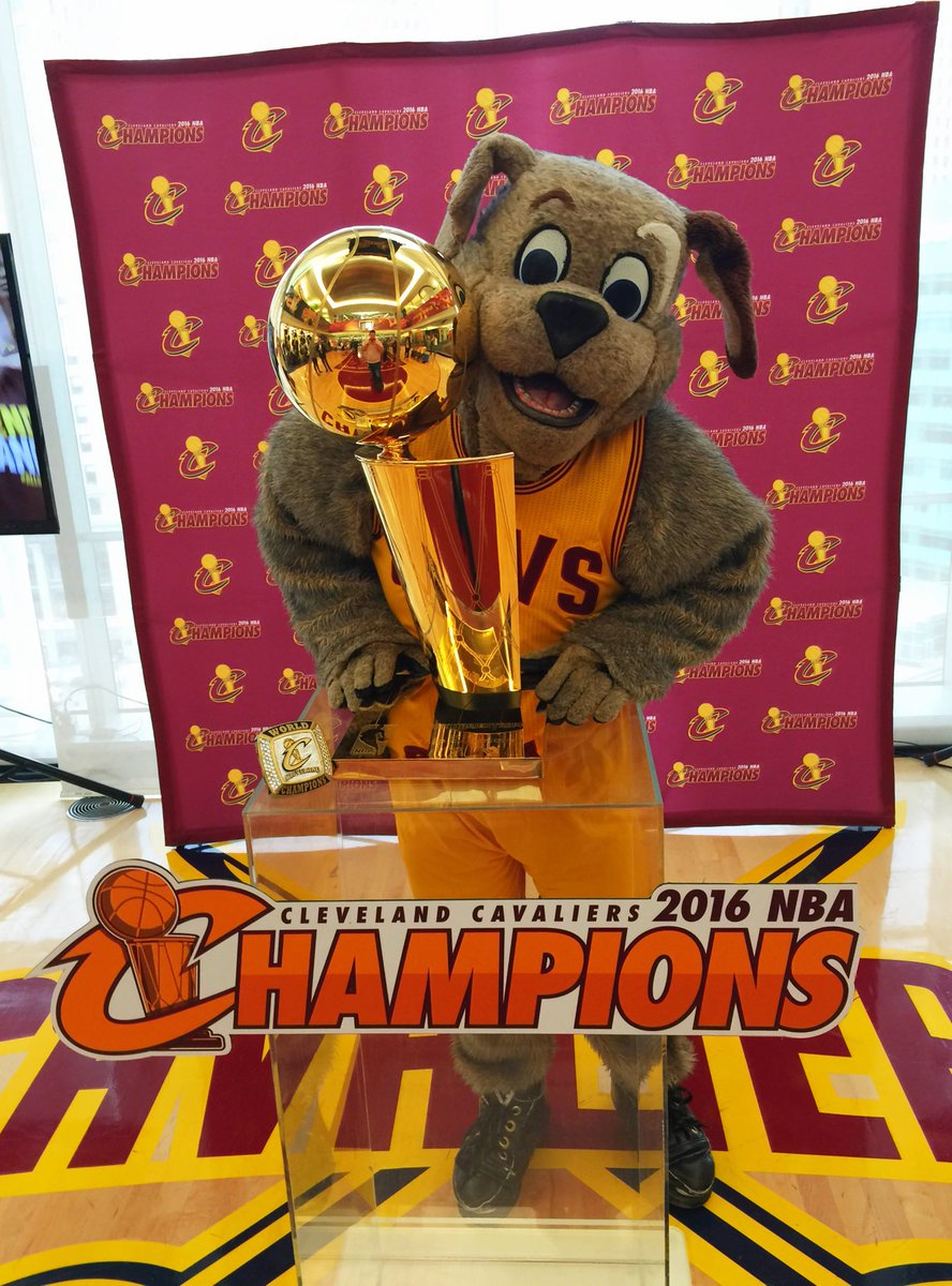Our favorite mascot, @CavsMoondog brought the Larry O'Brien Trophy to our Detroit offices today!