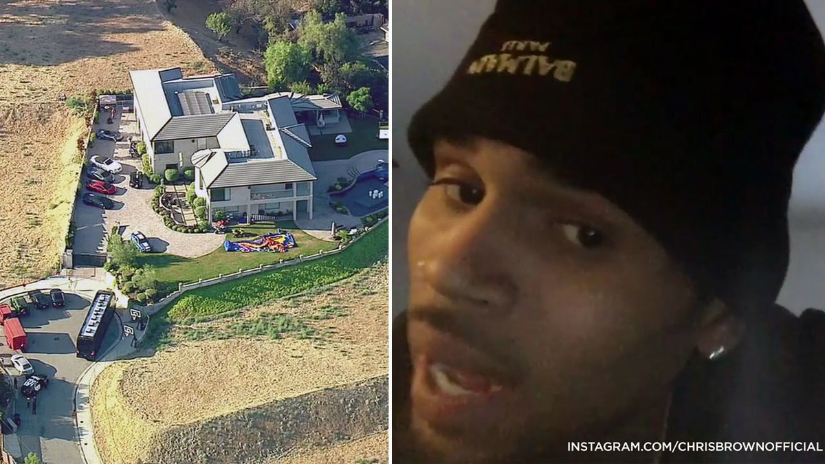 LAPD serving search warrant at Chris Brown's home in Tarzana
