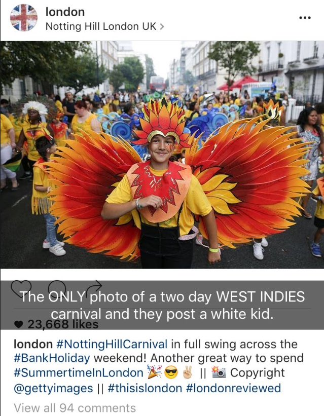 @Londongramer biggest 2 day Caribbean festival and you choose this photo from Getty? Thanks for representing! ✊🏿🙃🙃🙃 https://t.co/WMWyxaeCeQ