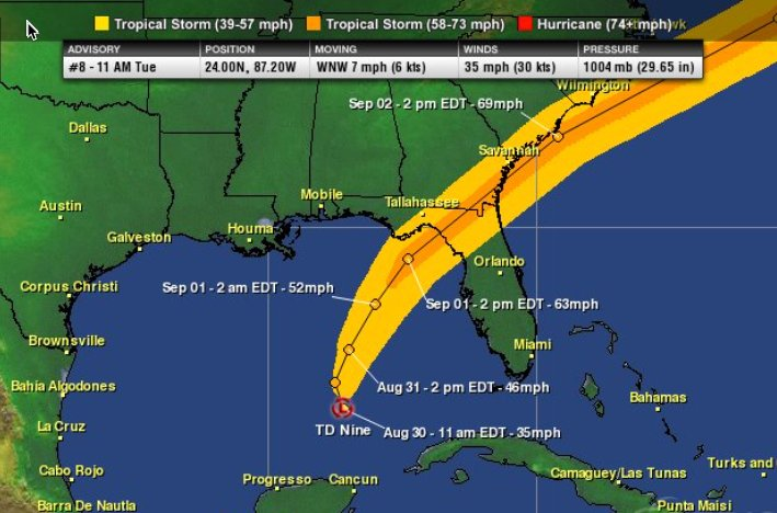 Hurricane tracker app on twitter updated wind swath map based on hurricane tracker app on twitter updated wind swath map based on the 5pm nhc forecast 60 mph in darker orange color td9 gumiabroncs Choice Image