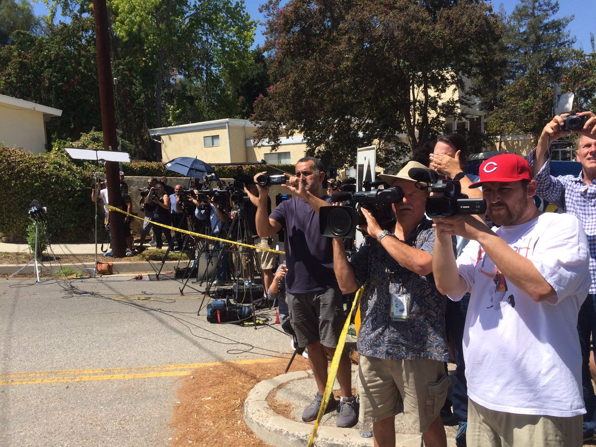 Unbelievable media scene outside Chris Brown's home - for the record, LAPD still unable to confirm WHAT happened...