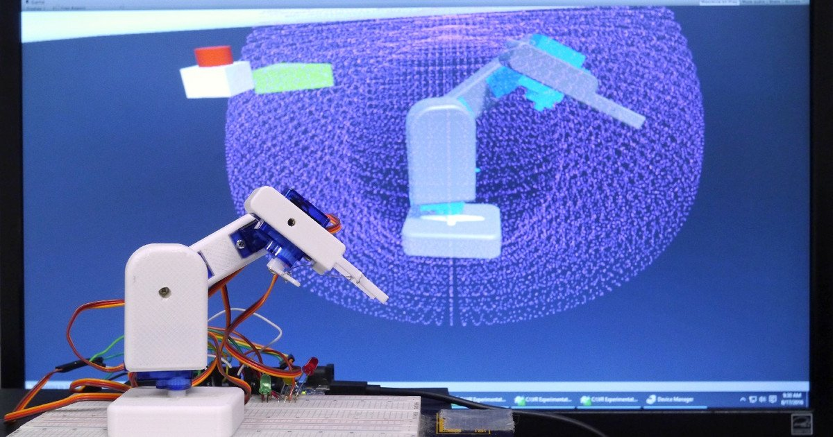 3D-Printed Robot Arm Is Controlled Using Virtual Reality