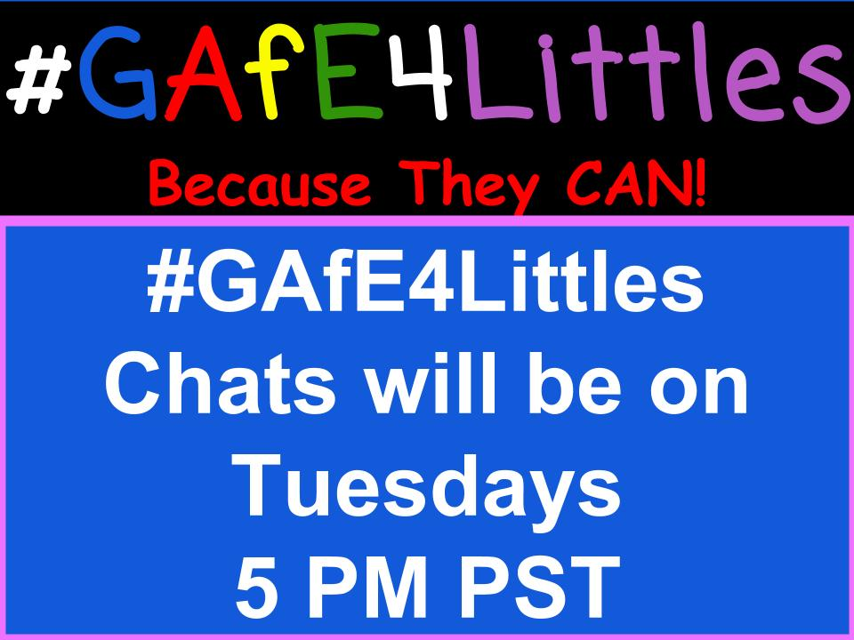 #gafe4littles chat will begin in 7 minutes 5 PM PST. Topic is ELA with GAFE! Co-moderating w/ reading T @jmerriman8 https://t.co/Y1n5bH2bjB
