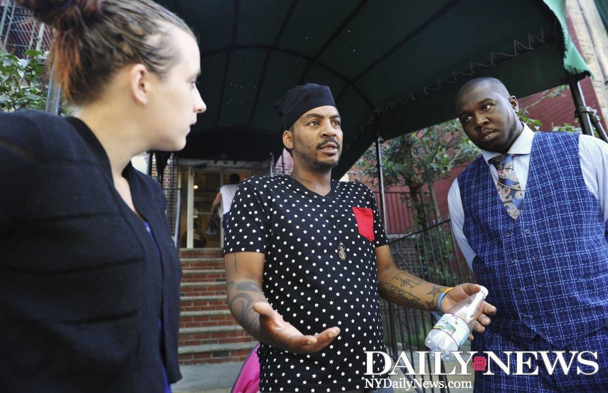 Homeless man complains about conditions at a Harlem shelter. Workers beat him in response