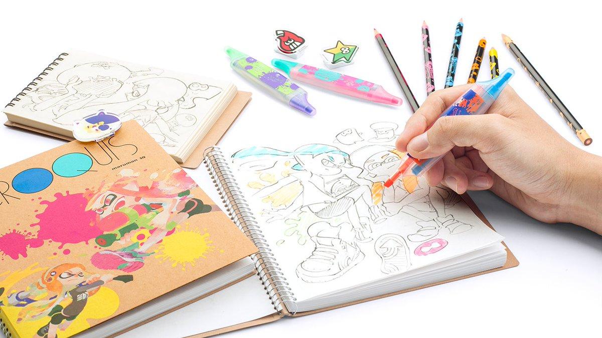 [デザインその他]三英貿易さんよりスプラトゥーンのクロッキーブック、色鉛筆、蛍光ペン、アクリルクリップといった文具雑貨が発売中だ。[2016年8月31日]