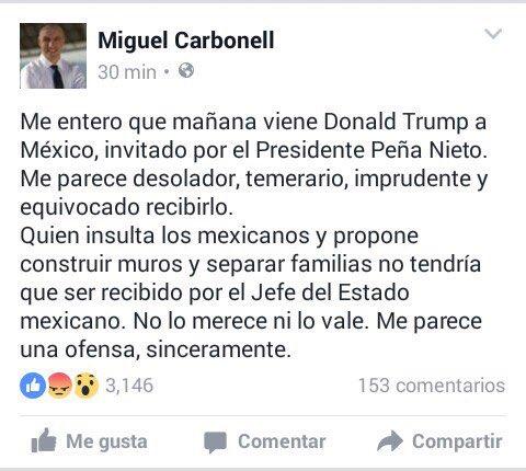 Mi opinión sobre la visita de Donald Trump a México, invitado por el Presidente de la República: https://t.co/tRRBVrPGHR
