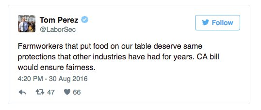 U.S. Labor Secretary tweets support for expanding overtime pay for California farmworkers