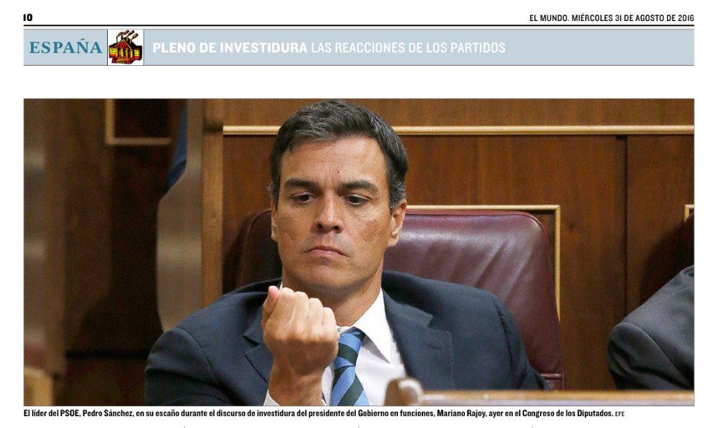 """Es la foto más destaca hoy en la prensa española de la #investiduraRajoy se titula """"El Gran Estadista Estilista"""" https://t.co/71oZKbaxne"""