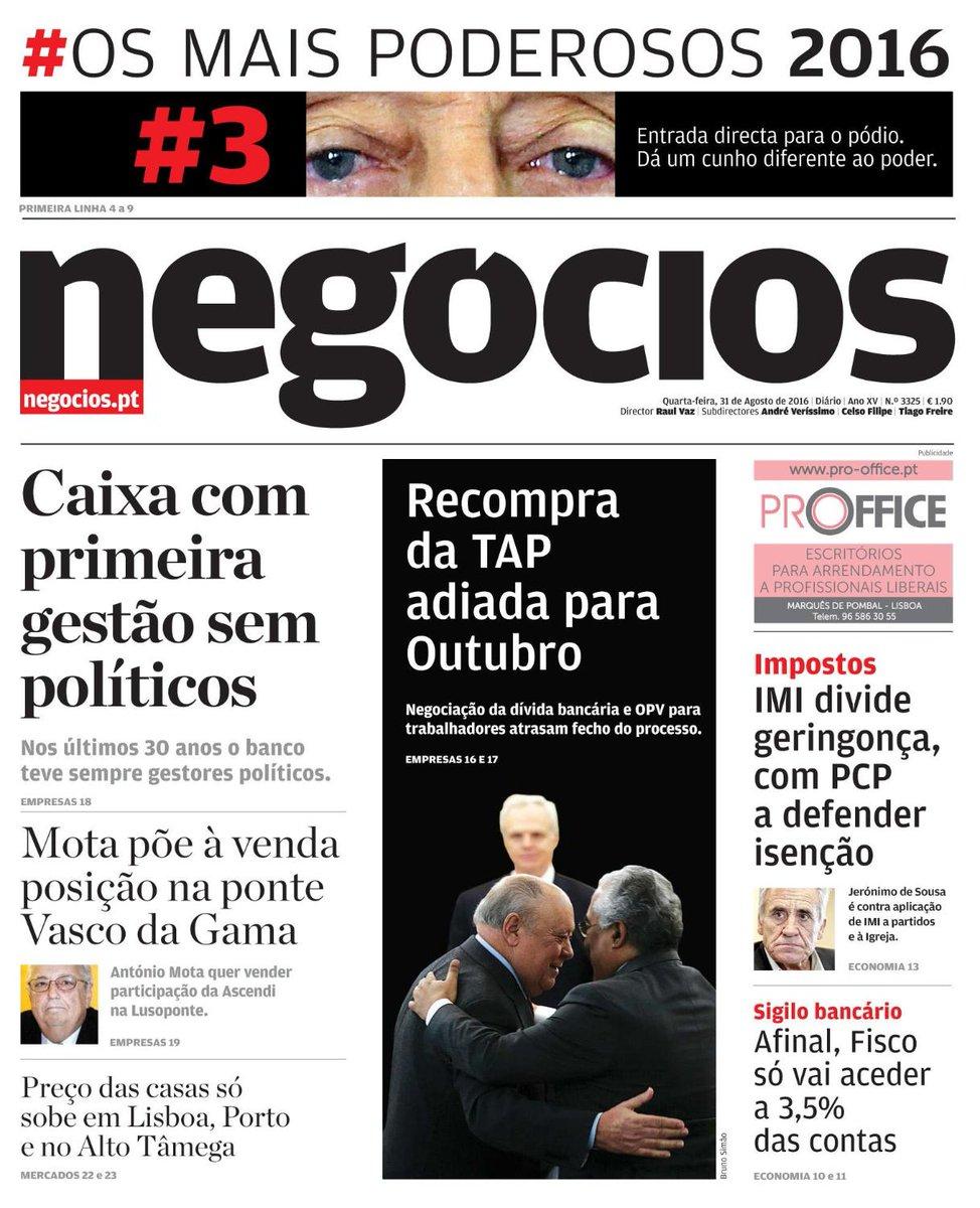 Veja os destaques da edição de hoje do Negócios. #Capa #31Agosto #JNegocios