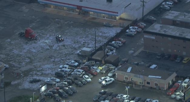 Sky9 shows us hail is still piled up near Broadway and Pecos 9newsmornings