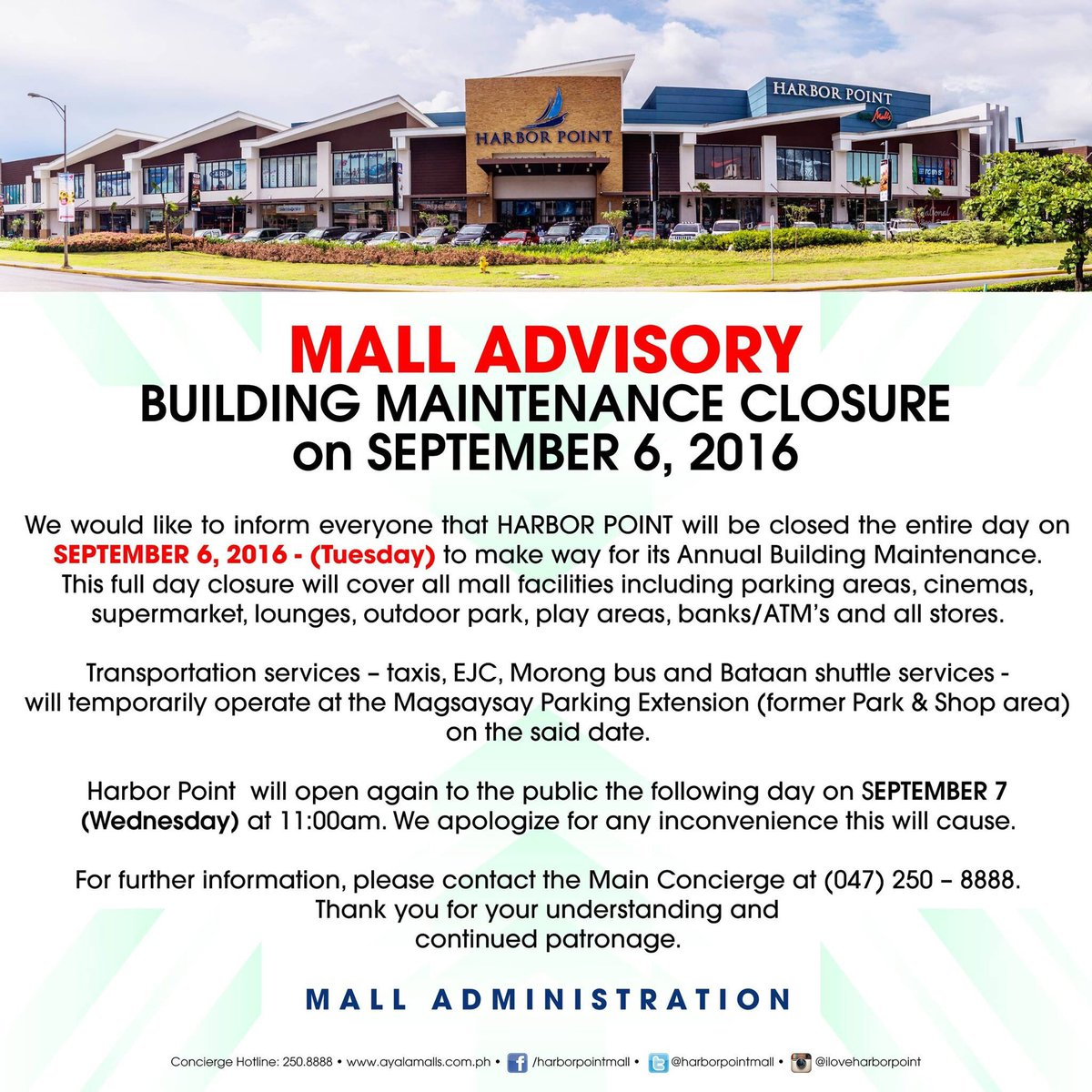 Harbor point on twitter heads up friends were closed on harbor point on twitter heads up friends were closed on september 6 2016 tuesday to give you a better mall experience stopboris Gallery