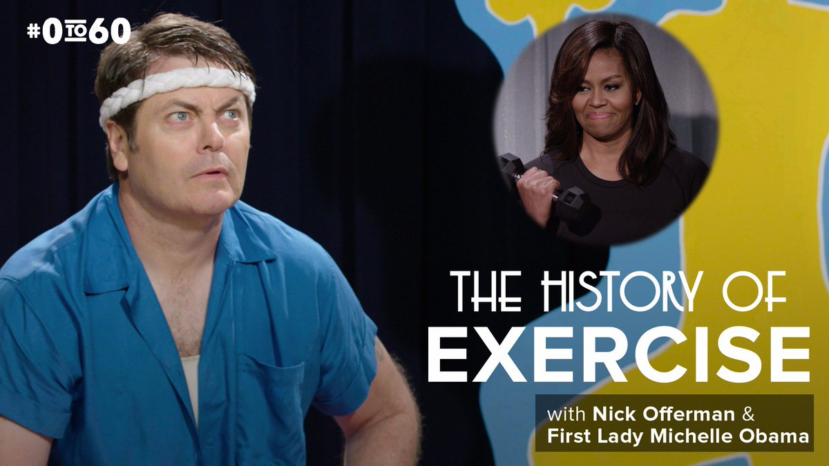 """Check out @FLOTUS & @Nick_Offerman in new @funnyordie """"History of Exercise"""" video: https://t.co/ybMBlvqsz2 #0to60 https://t.co/qN8Qwa05CZ"""